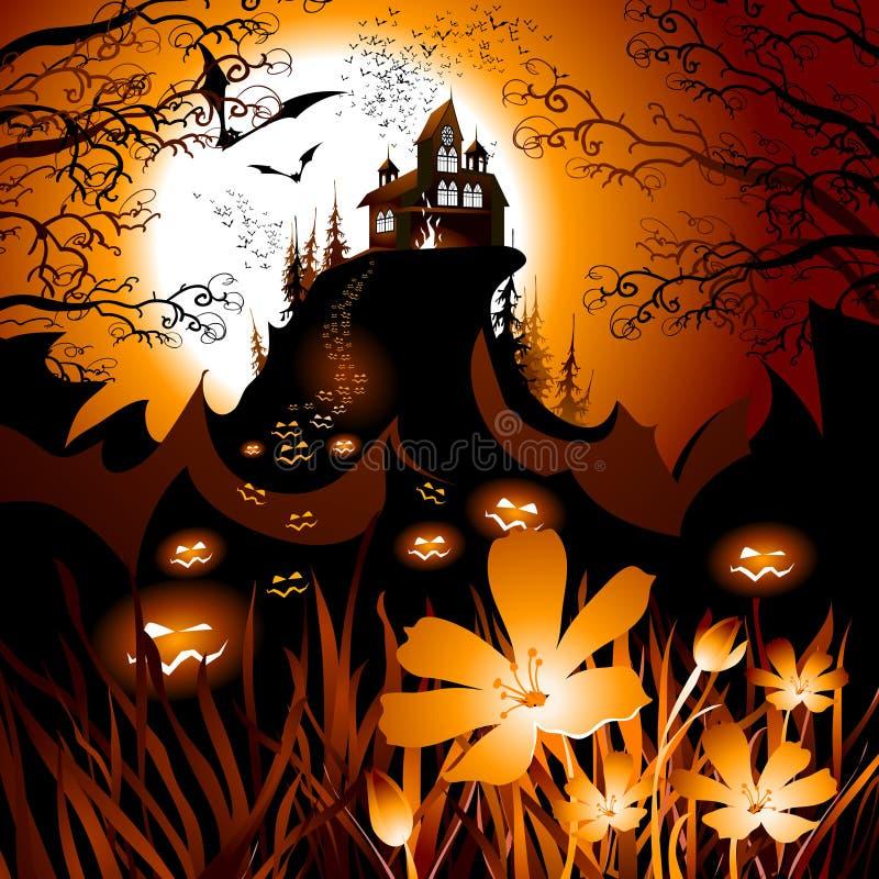 Halloween landscape stock illustration