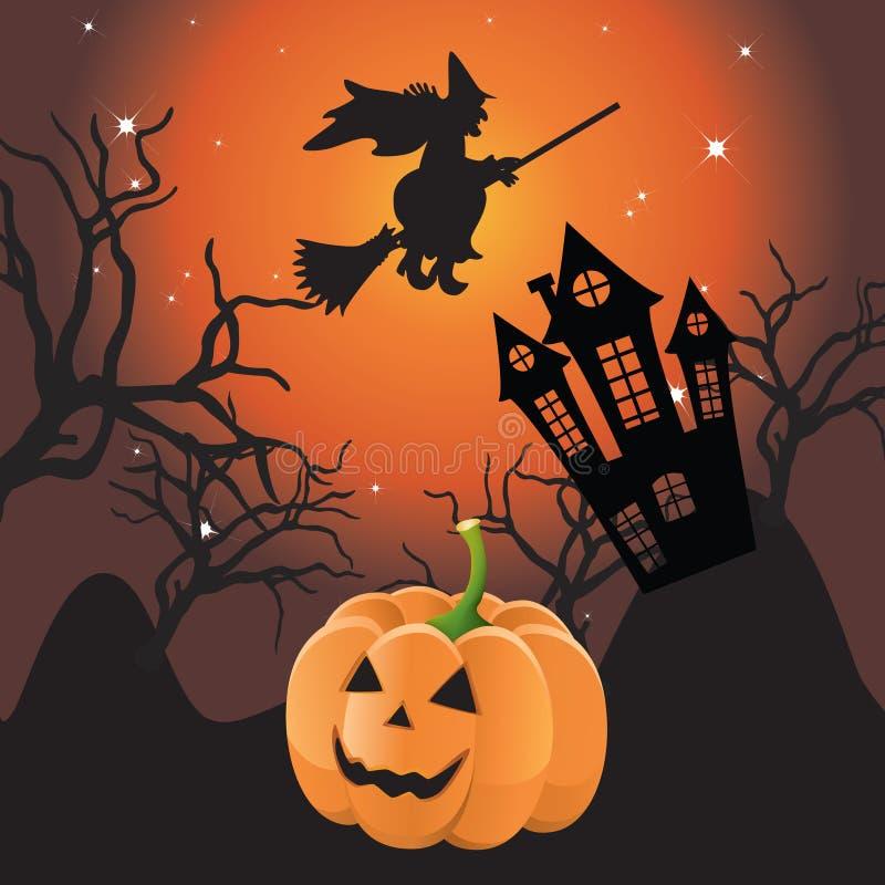 Download Halloween landscape. stock vector. Image of pumpkin, stars - 21158686