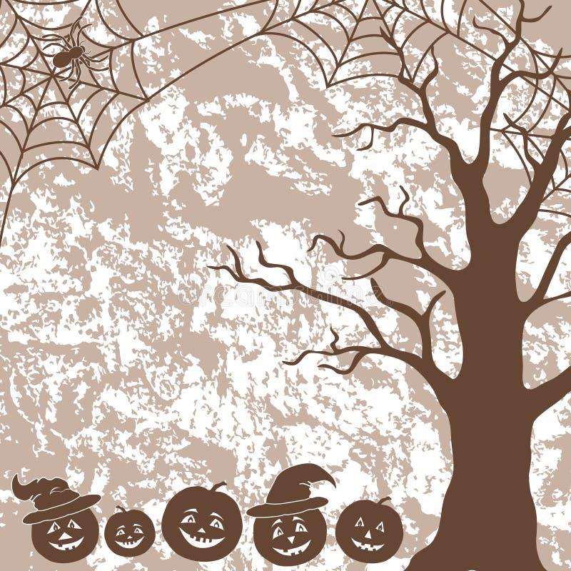 Halloween Landscape, Pumpkins, Tree And Spider Stock Vector
