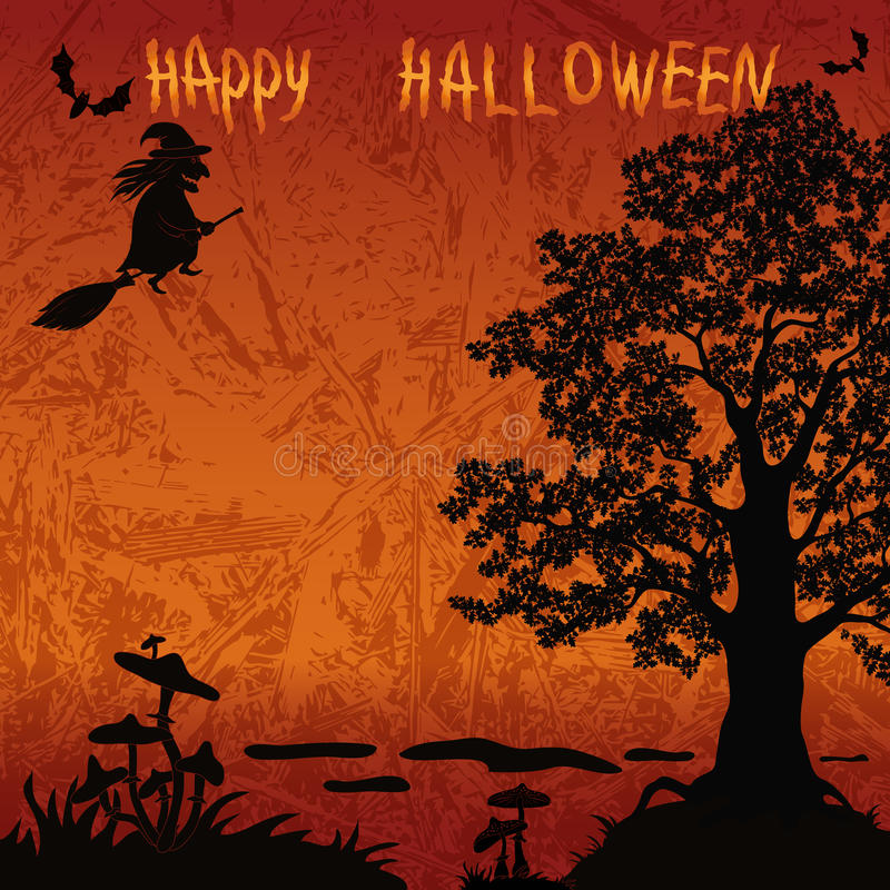 Halloween-Landschaft mit Hexe vektor abbildung