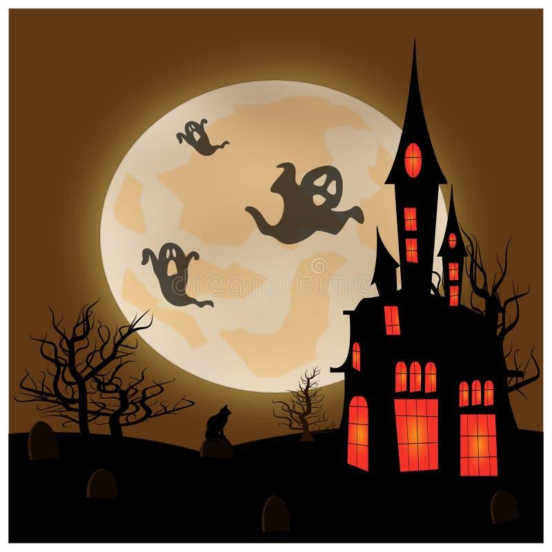 Halloween-Landschaft mit Mond, Schloss und Geistern lizenzfreie abbildung