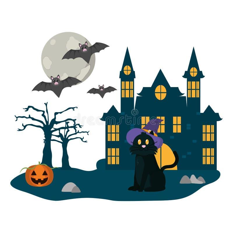 Halloween-landschapsbeeldverhaal stock illustratie