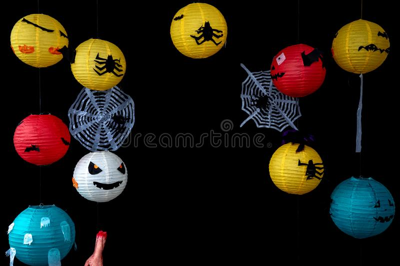 Halloween lantern in many kind of mask and colour stock photography