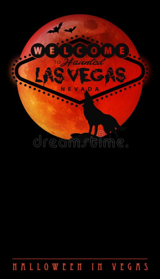Halloween in Las Vegas. Party Spooky Art Invitation with Blood Moon wolf and bats on Black background royalty free stock photo