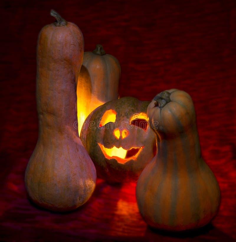 Halloween, le potiron mauvais mire la tristesse images stock