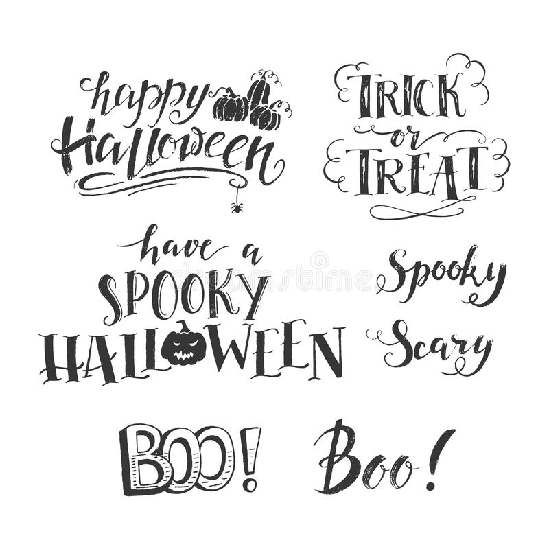 Halloween lettering set stock illustration