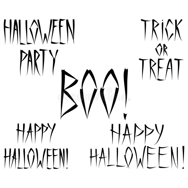 Halloween Lettering - A Set Of Scary Halloween Phrases Stock ...