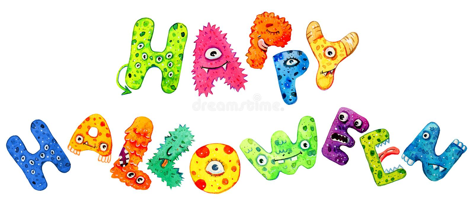 Halloween lettering. Title `Happy Halloween`. Cartoon hand drawn watercolor text. Monster letters vector illustration