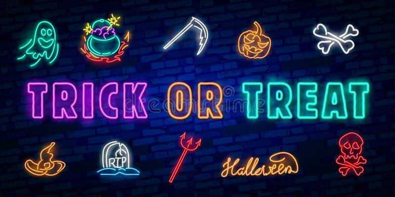 Halloween-Leuchtreklame Süßes sonst gibt's Saures Halloween-Designschablone mit Geist und Netz für Fahne, Plakat, Grußkarte, Part lizenzfreie abbildung