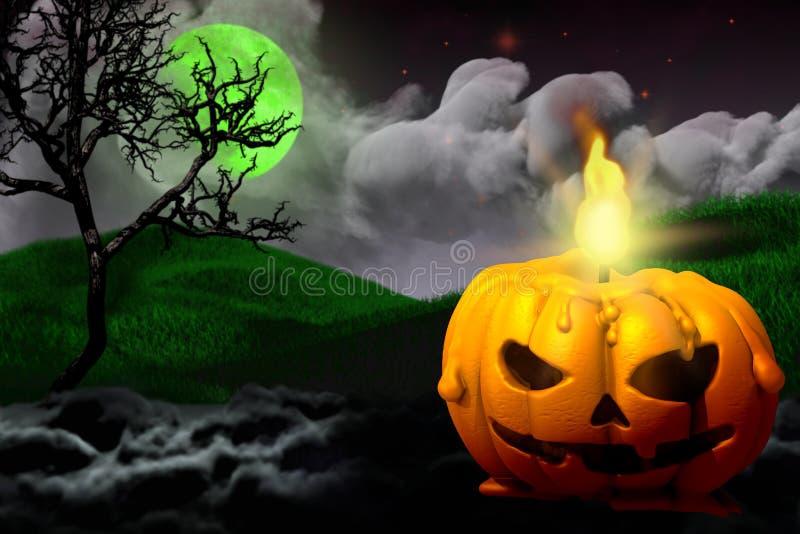 Halloween-levande grumlig mörkmörk nattstruktur - bakgrundsdesign 3D-bild med ledigt utrymme till vänster och ljus i vektor illustrationer