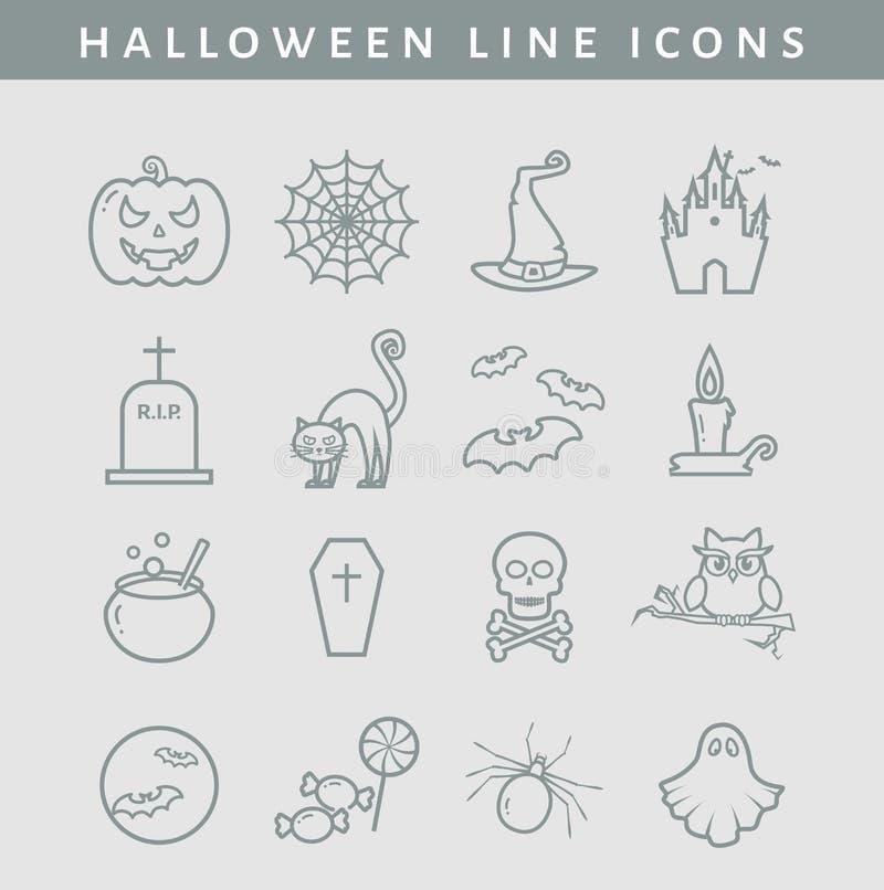 Halloween-lijnpictogrammen Beeldverhaal polair met harten vector illustratie
