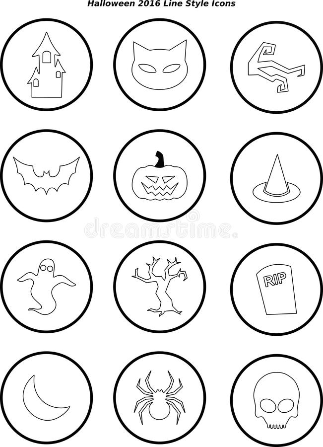Halloween 2016 Line Style Icons royalty free stock photos