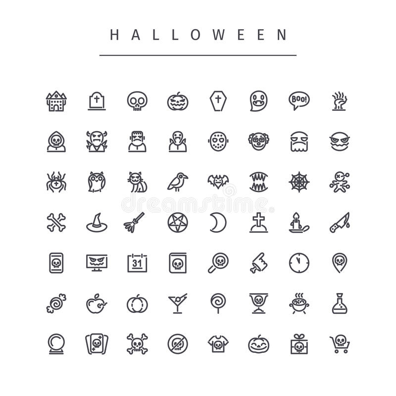 Halloween-Linie Ikonen eingestellt vektor abbildung