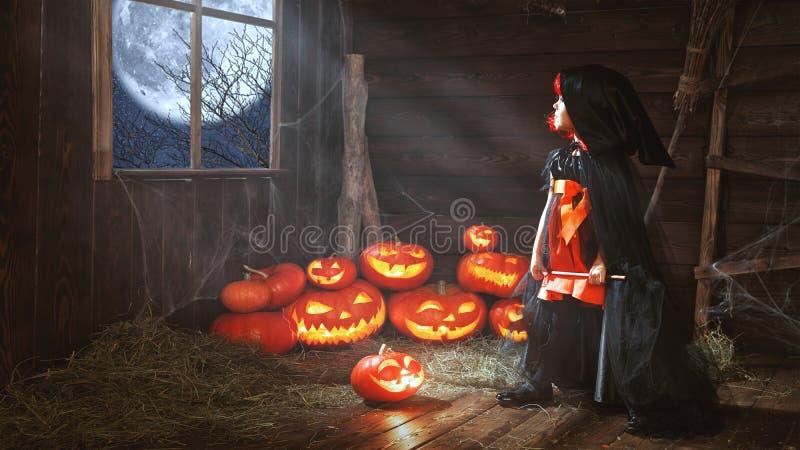 Download Halloween Liten Häxa För Barn Med Pumpa Vid Fönsterwaitinen Arkivfoto - Bild av stålar, pumpa: 78731122