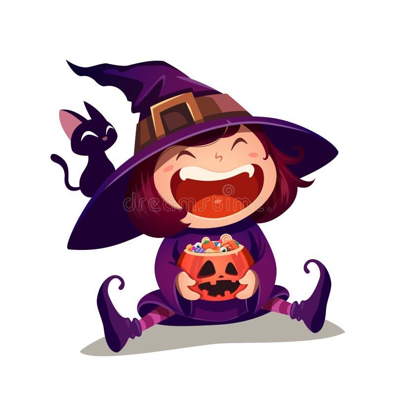 halloween liten häxa Flickaungen i allhelgonaaftondräkt rymmer en pumpa med mycket av godisar isolerat stock illustrationer