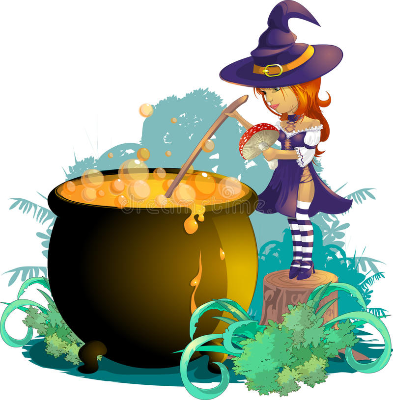 Halloween. Little witch who cooks brew in the night of Halloween royalty free illustration