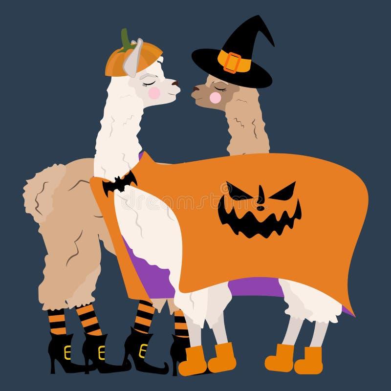 Halloween Llama In Pumpkin Costume Seamless Pattern Stock ...