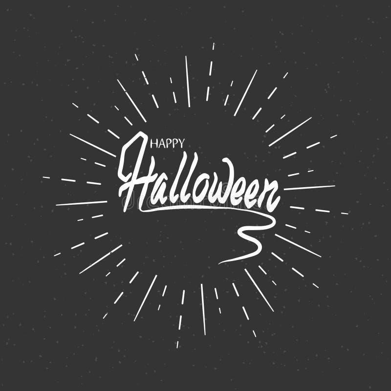 Halloween logo Estilo retro Uma inscrição para seu projeto contra um fundo dos raios brancos ilustração stock