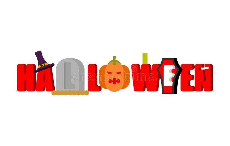 Halloween logo lettering. Gravestones and coffin. royalty free illustration