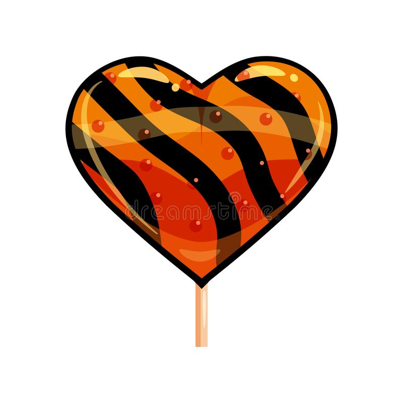 Halloween lollipop heart sweets colorful with halloween colors elements. Vector isolated illustration vector illustration