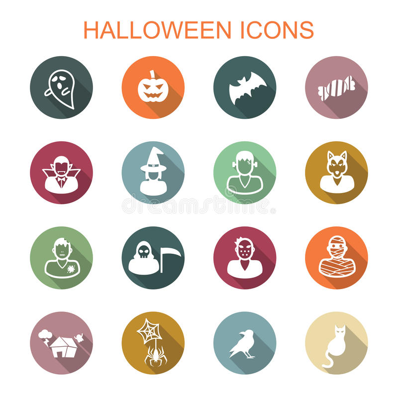 Halloween long shadow icons stock illustration