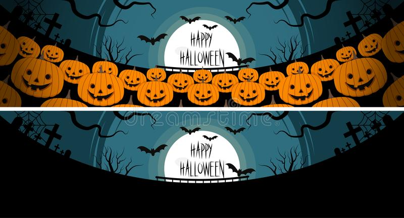 Halloween a lot of pumpkins in front of a full moon vector illustration