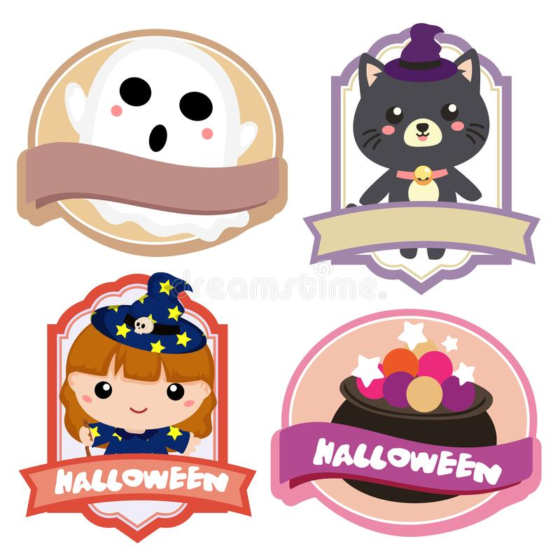 Halloween lovable cartoon character label. Halloween lovable character label set royalty free illustration