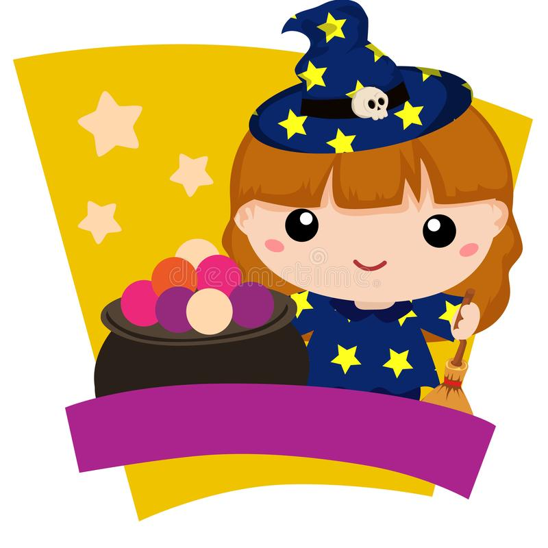 Halloween lovable kids witch cartoon. Character stock illustration