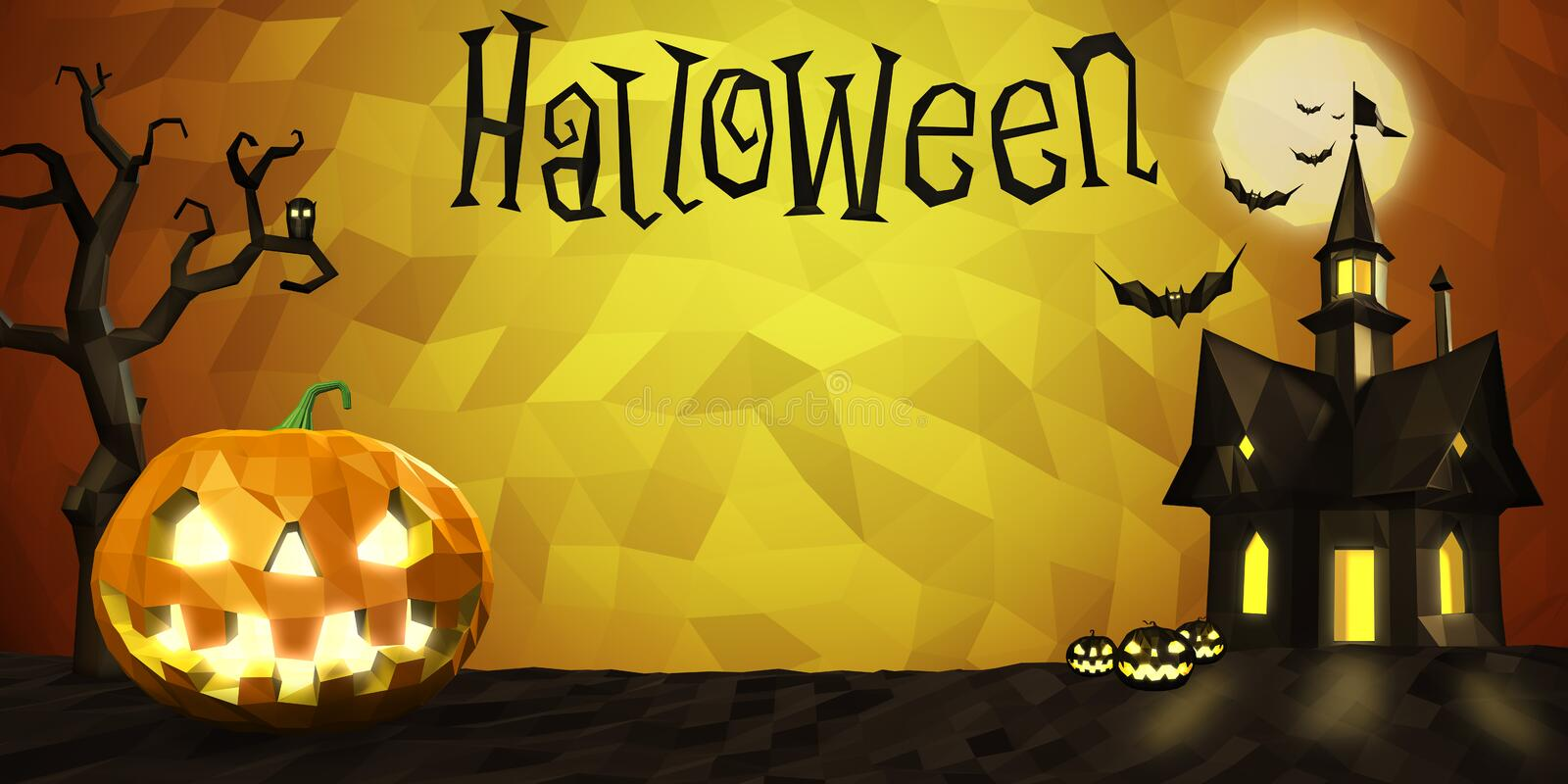Halloween low poly composition royalty free illustration