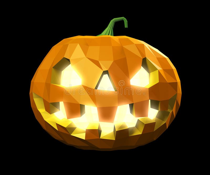 Halloween low poly pumpkin royalty free illustration