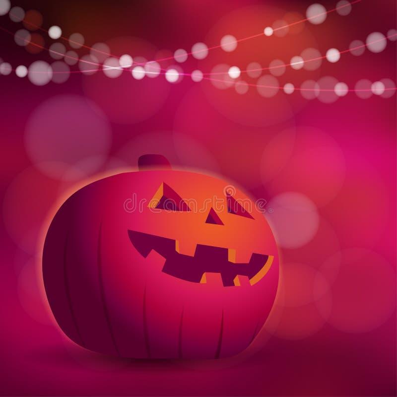 Halloween lub Dios De Los Muertos kartka z pozdrowieniami, zaproszenie z banią royalty ilustracja