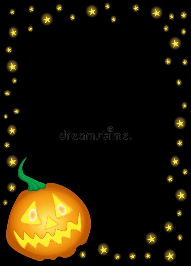 Halloween luminous pumpkin with stars on a black background-01 royalty free illustration