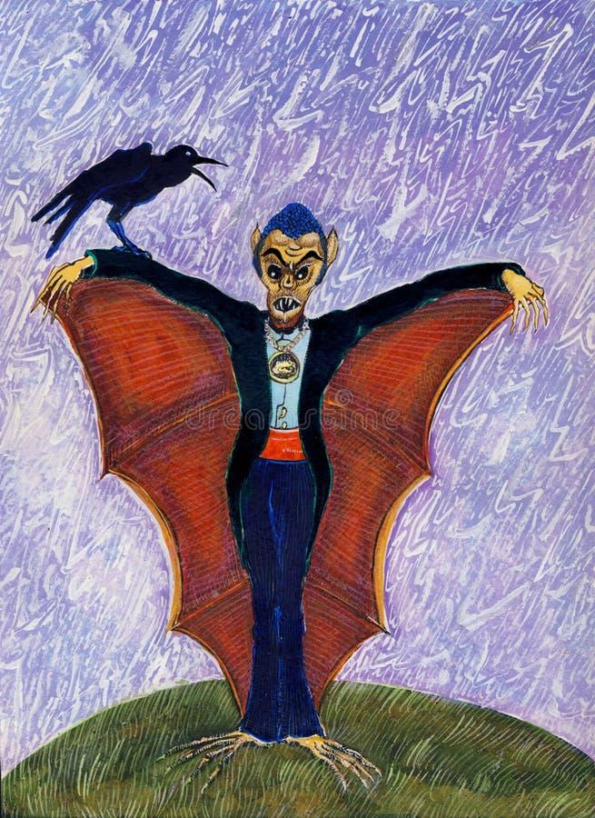 Halloween lustiges Batcula mit Krähe lizenzfreies stockbild