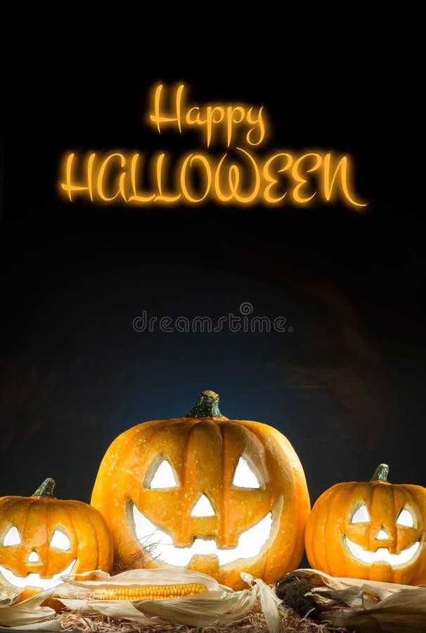 halloween lycklig affisch Svart bakgrund royaltyfri fotografi