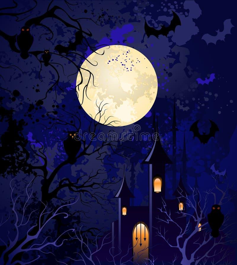 halloween månbelyst natt vektor illustrationer