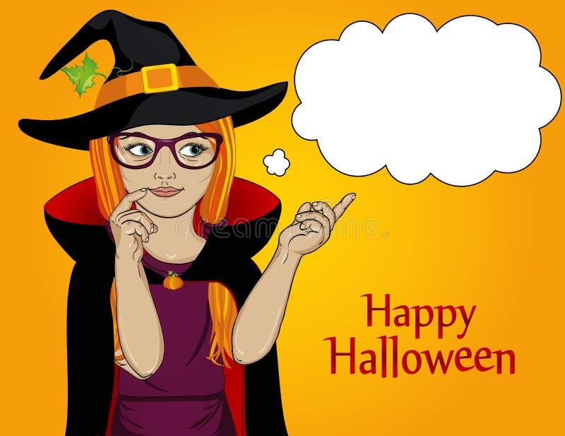 halloween Młoda dziewczyna w kapeluszu i czarownica kostiumu wskazuje thou royalty ilustracja