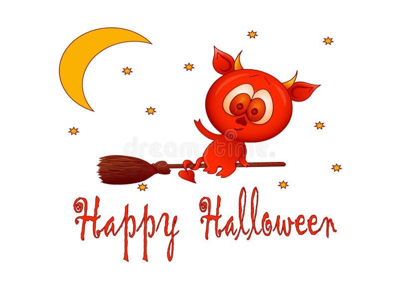 halloween Mały diabeł lata na broomstick royalty ilustracja