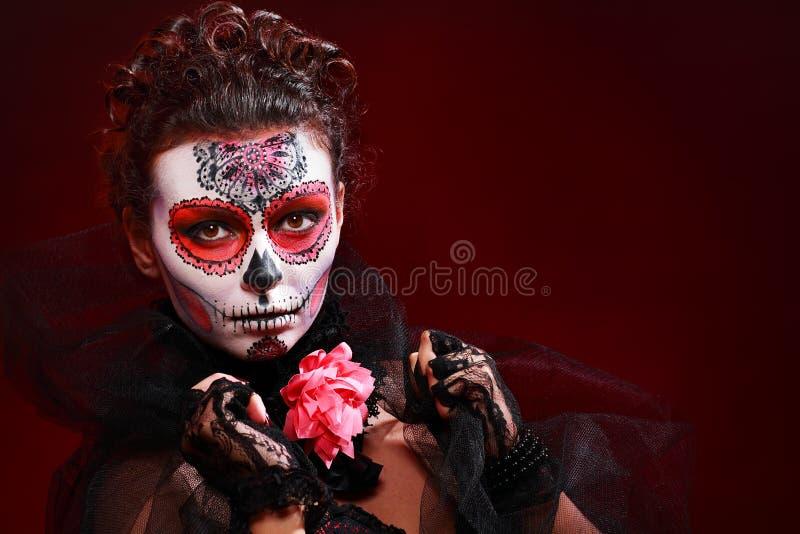 Halloween maakt omhoog suikerschedel stock afbeelding