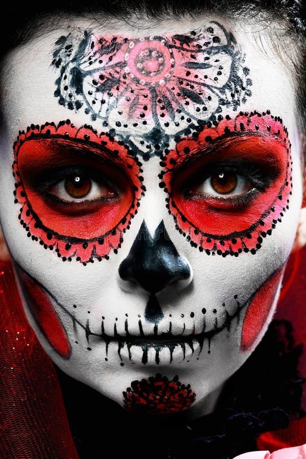 Halloween maakt omhoog suikerschedel royalty-vrije stock afbeelding