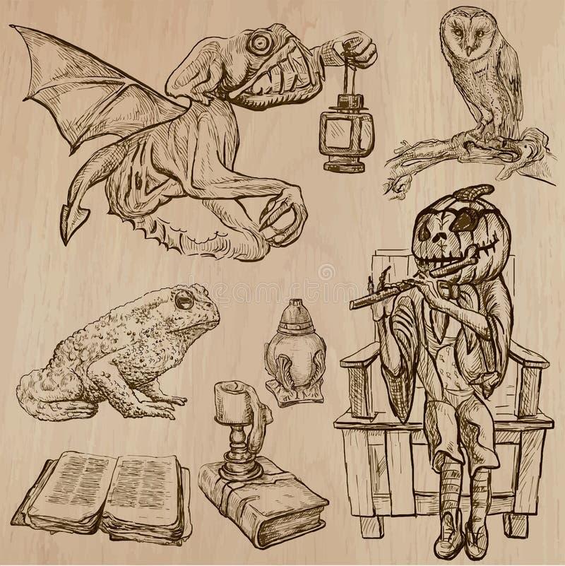 Halloween, Magische Monsters, - Vectorinzameling royalty-vrije illustratie