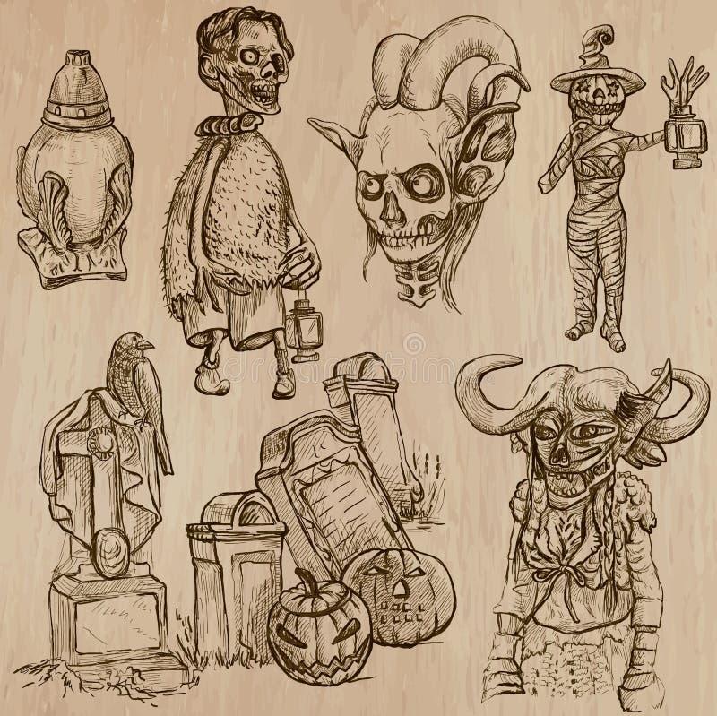 Halloween, Magische Monsters, - Vectorinzameling stock illustratie