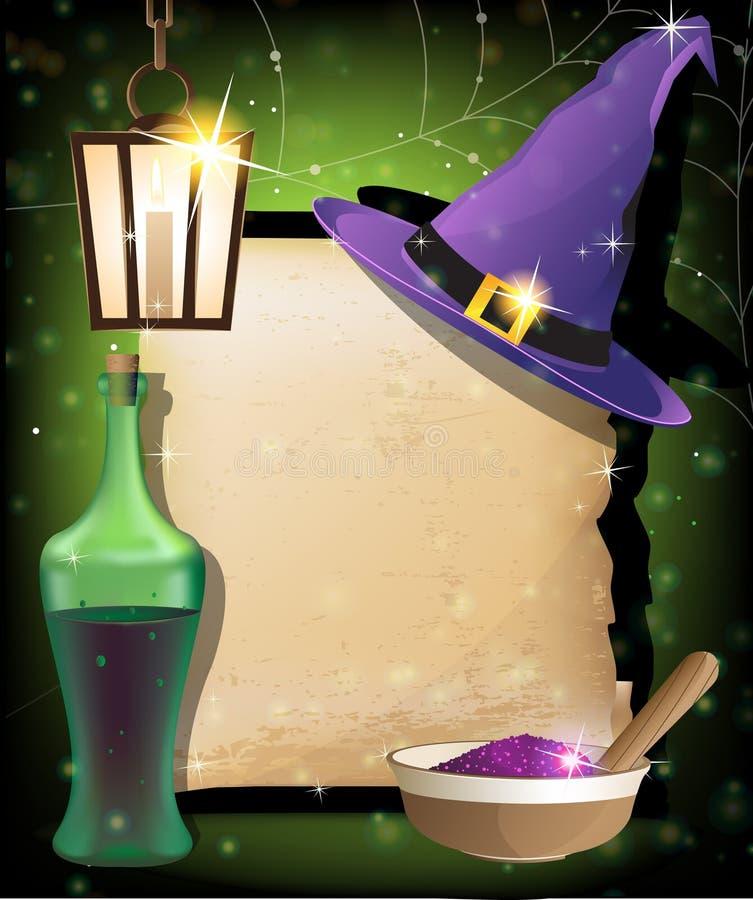 Halloween magitillbehör stock illustrationer