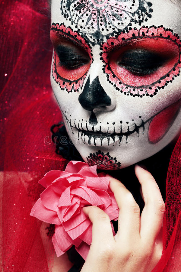 halloween make up sugar skull stock photo image 45011356. Black Bedroom Furniture Sets. Home Design Ideas