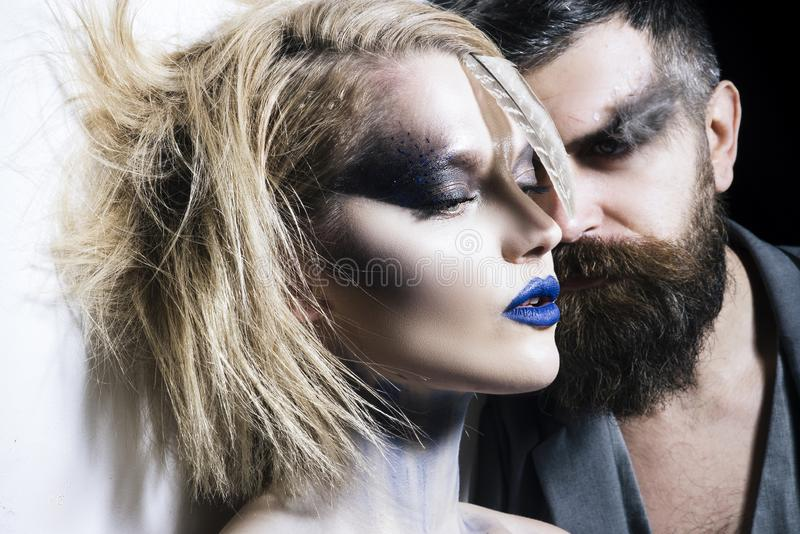 Halloween make up. Vampire couple on Halloween night. Design for Halloween banner. royalty free stock image