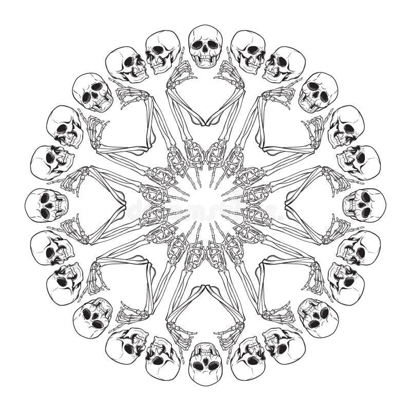Halloween-Mandala Menschliche Handknochen und -schädel vereinbarten in einer verwickelten gotischen Kreisverzierung lizenzfreie abbildung