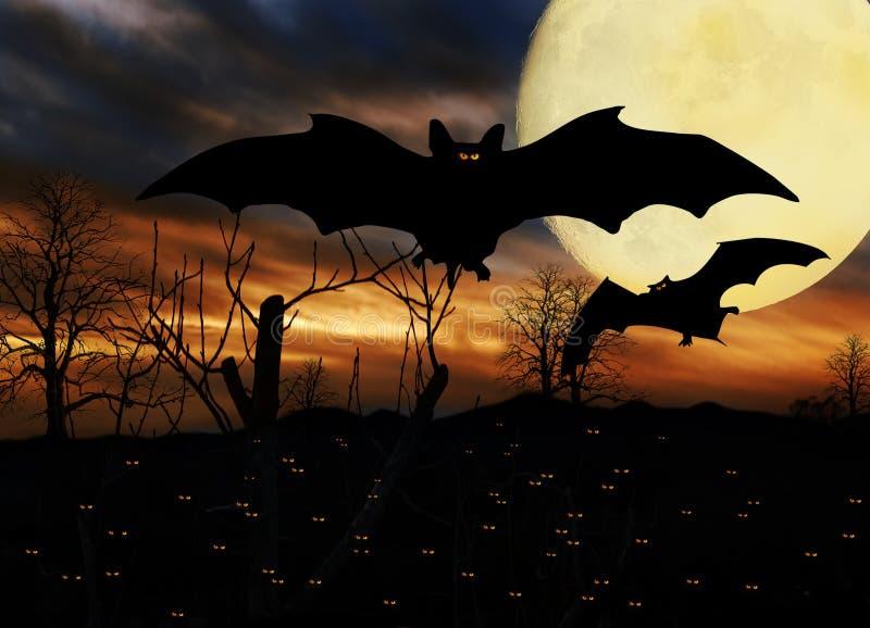 Halloween manie la batte la pleine lune illustration de vecteur