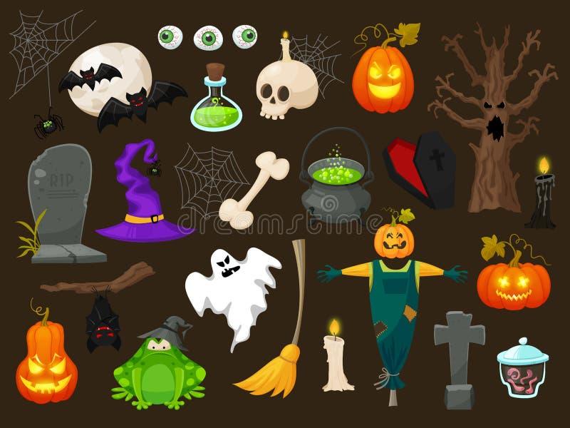 Halloween-manier vlakke pictogrammen op brounbackground De vectorkarakters van Halloween Pompoen, spook en heks vector illustratie