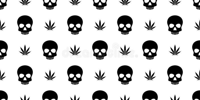 Halloween-Marihuanaunkrauthanfpiratenknochen Geist-Giftschal Muster der Schädel-gekreuzten Knochen lokalisierte nahtloser Wiederh lizenzfreie abbildung