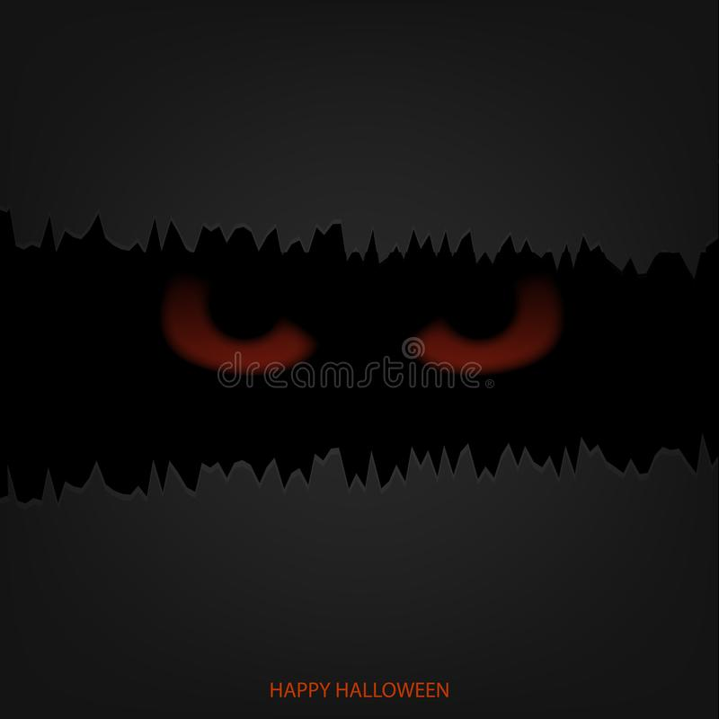 Halloween mask with red glowing eyes. Vector. stock illustration