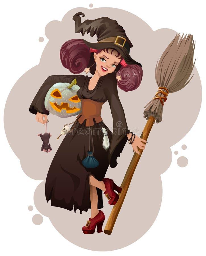 Halloween-Maskerade Schöne Hexe der jungen Frau, die Maus hält lizenzfreie abbildung